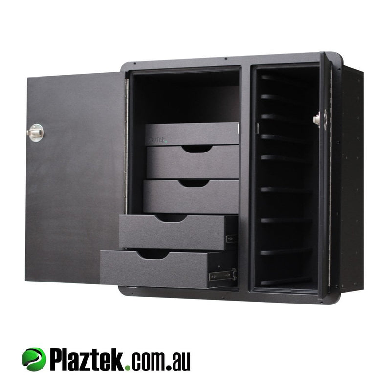 Plaztek tackle centre Storage, hold 8 plano fishing Tackle trays and 4 pull out drawers, room behind doors for fishing tool holders as well a great boat outfitting product