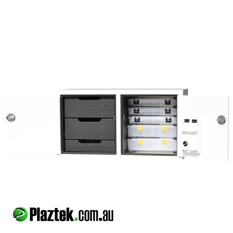 Plaztek Boat Tackle Storage Cabinets, a combination of Boat Drawers and Fishing Tackle Tray storage