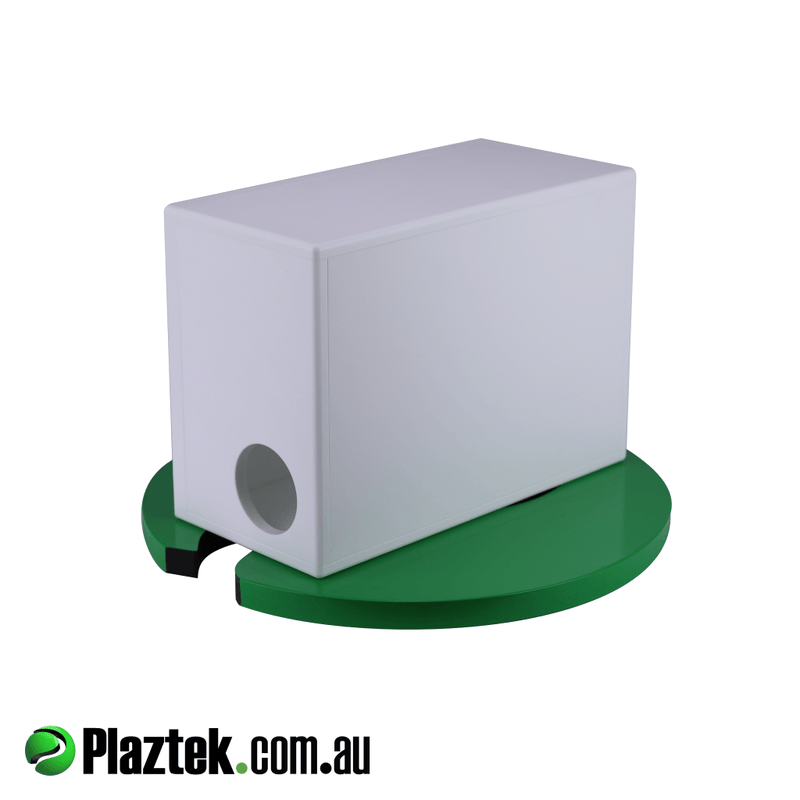 10'' Boat Subwoofer Box. Back view with side hole to release the air the sub makes. Made from white King StarBoard.