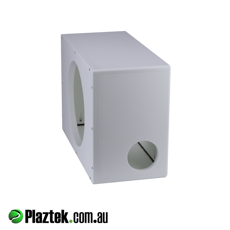 10'' Boat Subwoofer Box. Side view showing the quality of the build with rounded corners. Made from white King StarBoard.