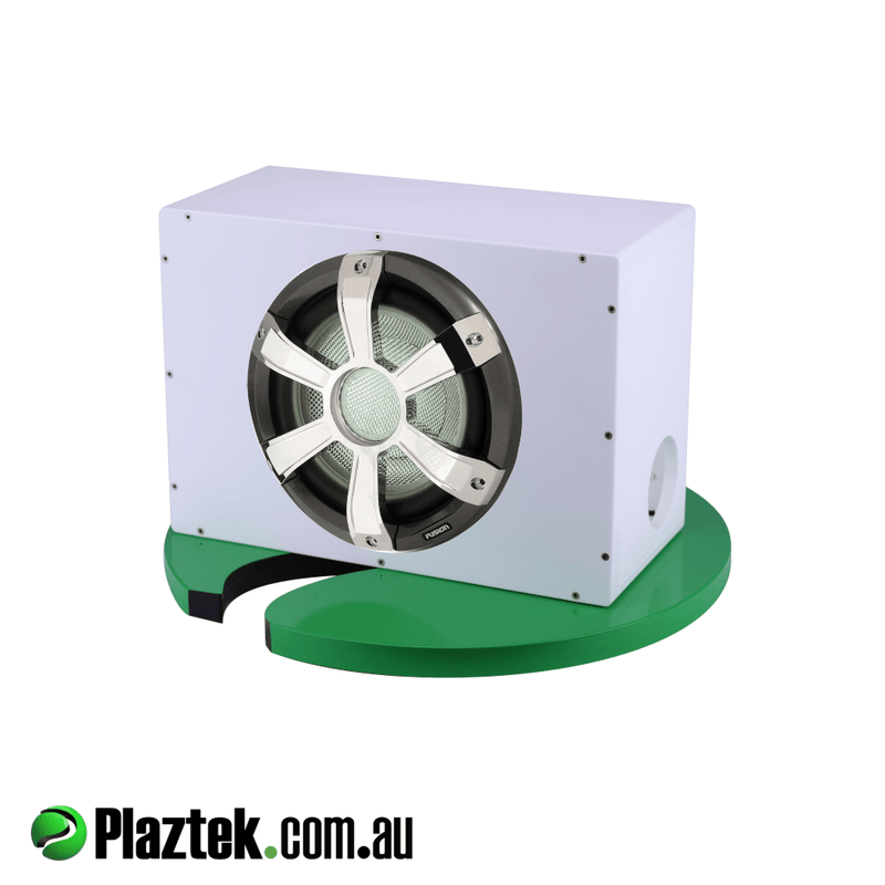 10'' Boat Subwoofer Box. Pictured with a 10'' subwoofer. Made from white King StarBoard.