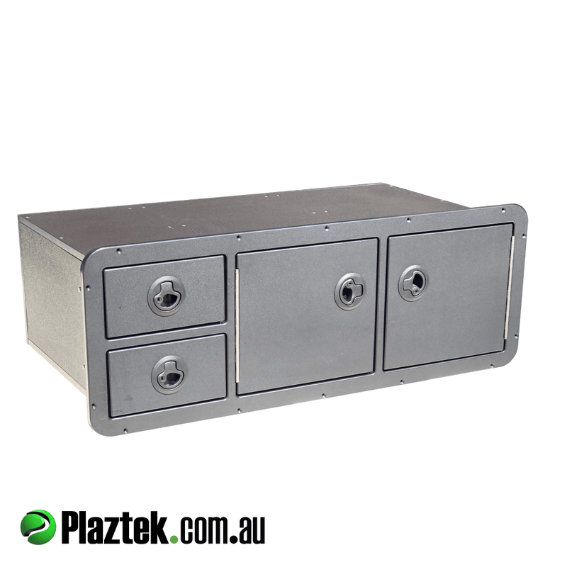 Boat Tackle Cabinet has 2 drawers and 2 storage lockers for Plano 3700 series Trays made to fit cut-out size of : 260mmH x 775mmW