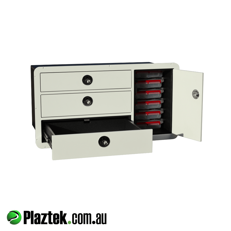 Boat Tackle Cabinet 3 Drawers & 6 Tackle Tray Combo.  Bottom draw is opened showing the 316 S/S Ball Bearing slides rated to 45kg each. Made from White King StarBoard.