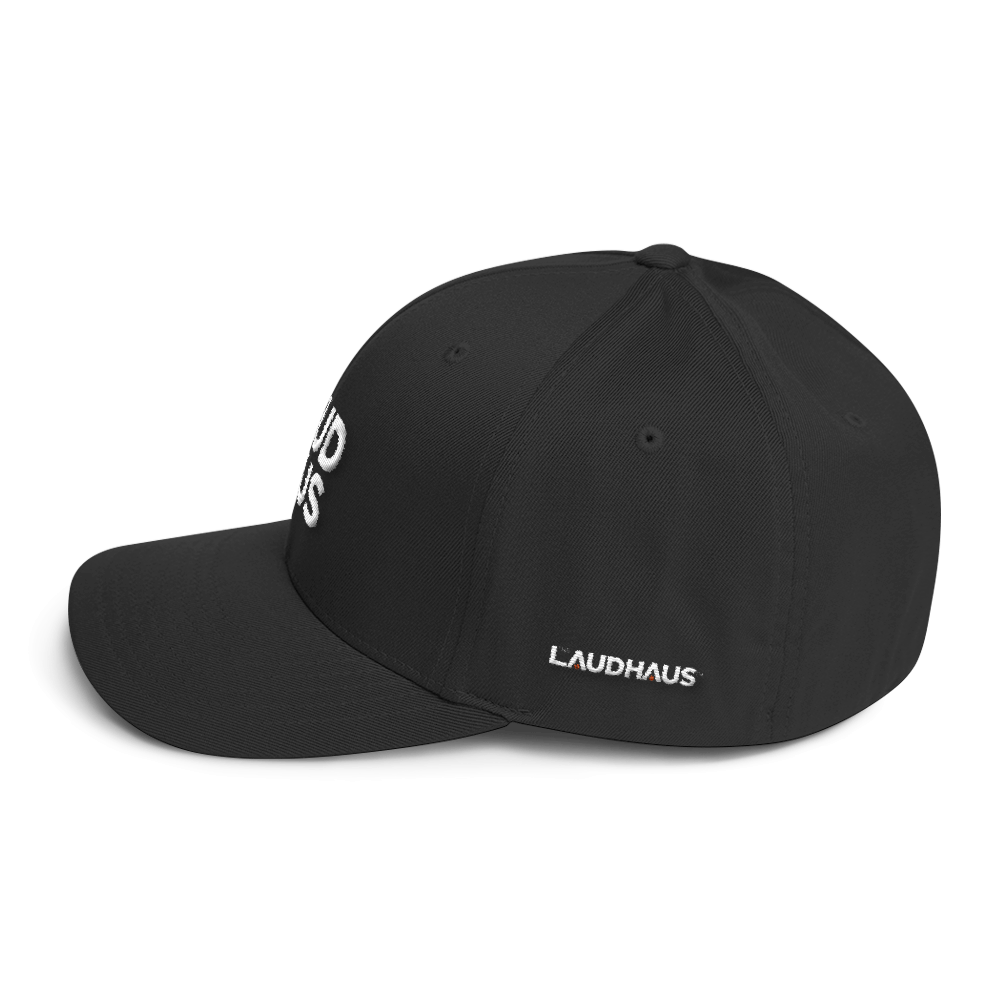 the Laudhaus Stacked Flexfit Cap 3D embroidery