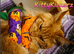 Kicker Stick Organic Catnip Cat Toy Handmade in USA by Kitty Kickerz Best Cat Toy Popular Catnip Toy Top Rated Ginger Cat Halloween Fabric