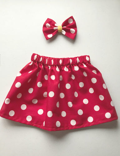 Minnie Dot Skirt and Bow Set