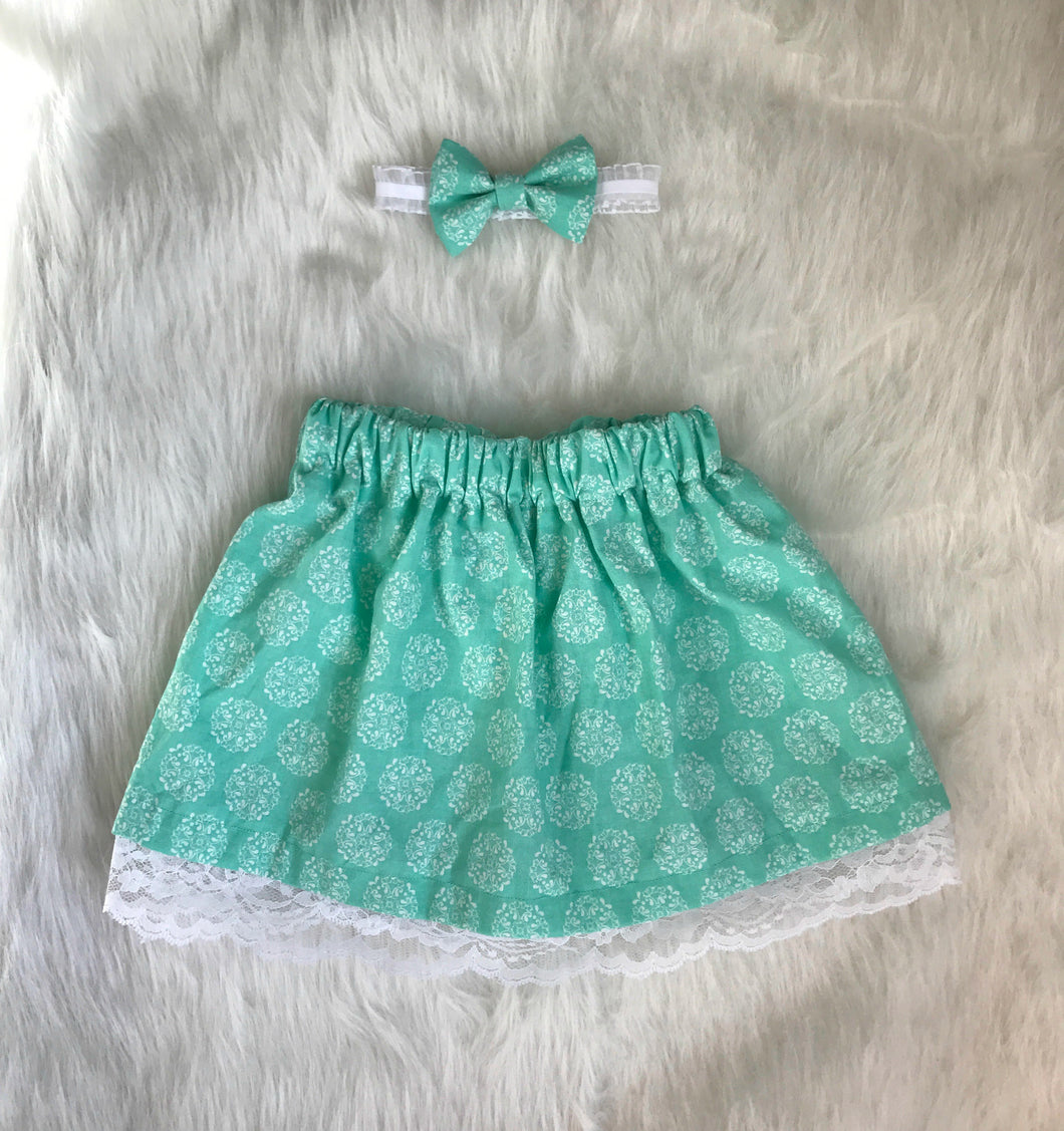 Sweet Lace Skirt and Bow Set