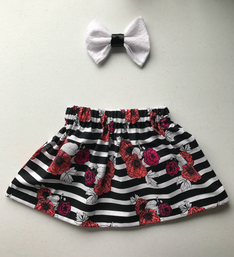 Black Tie Skirt and Bow Set