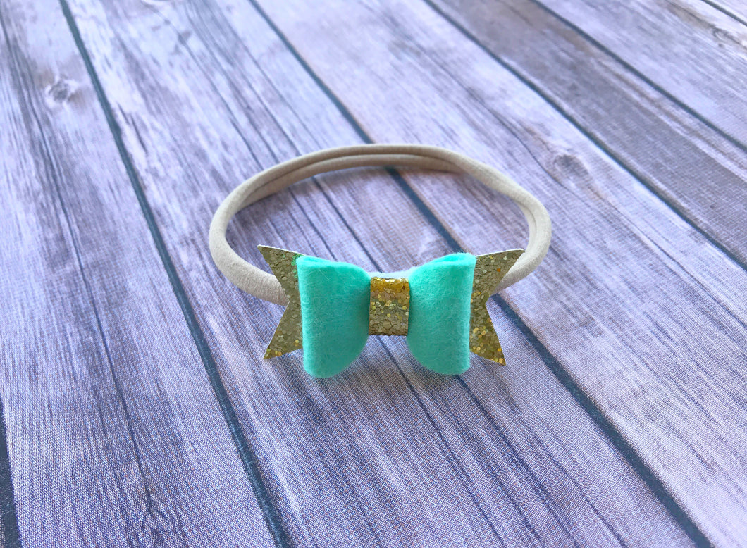 Gold and Teal Bow