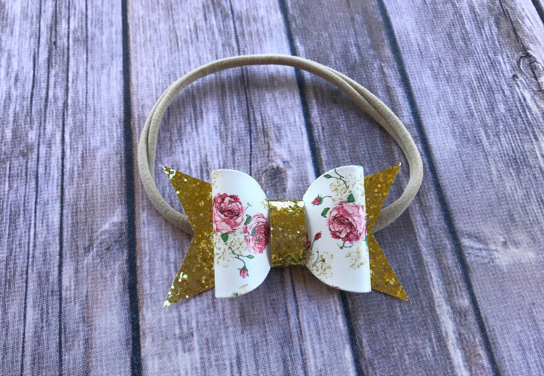 Floral and Gold Sparkle Headband