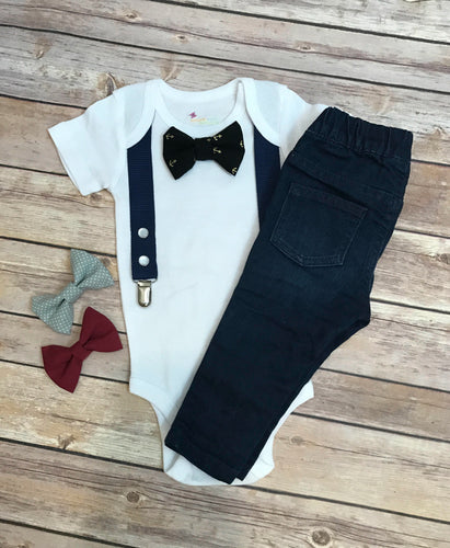 Onesie with suspenders and interchangeable bow ties - Navy
