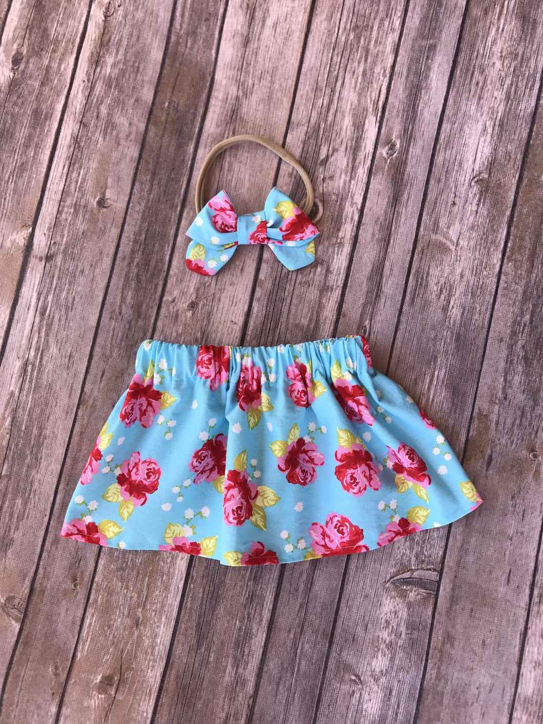 Spring Time Floral Skirt and Bow Set