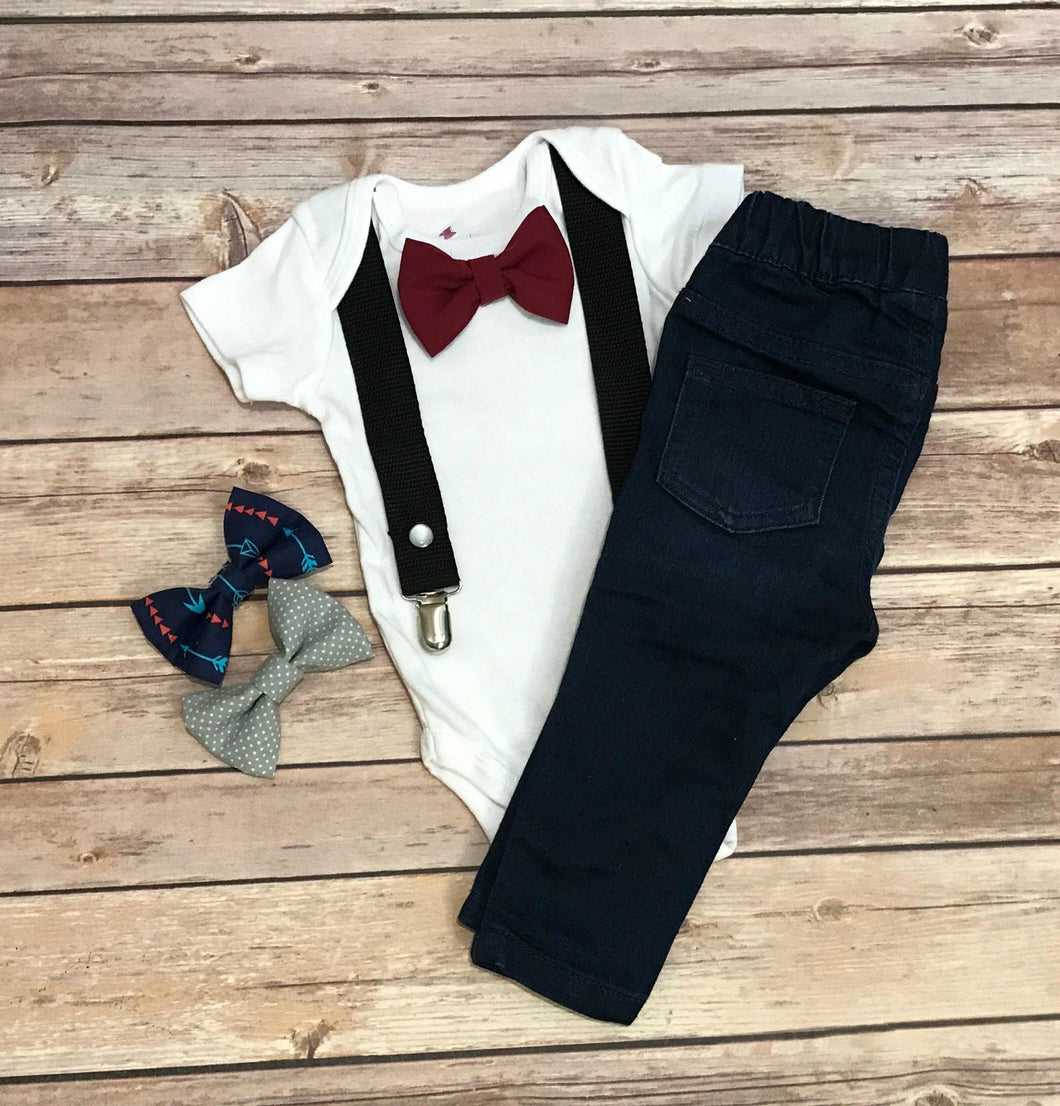 Onesie with suspenders and interchangeable bow ties - Black