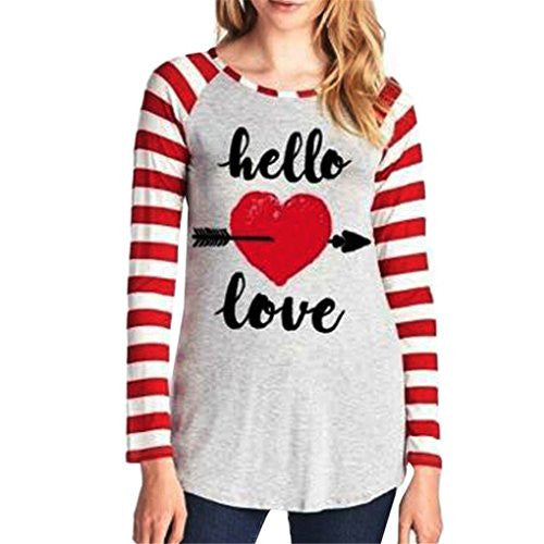 Fall Fashion Women Love Letter Stripe Print T shirt
