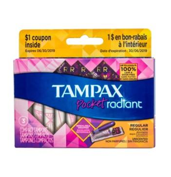 Tampax Pocket Radiant Tampons, 3 ct.