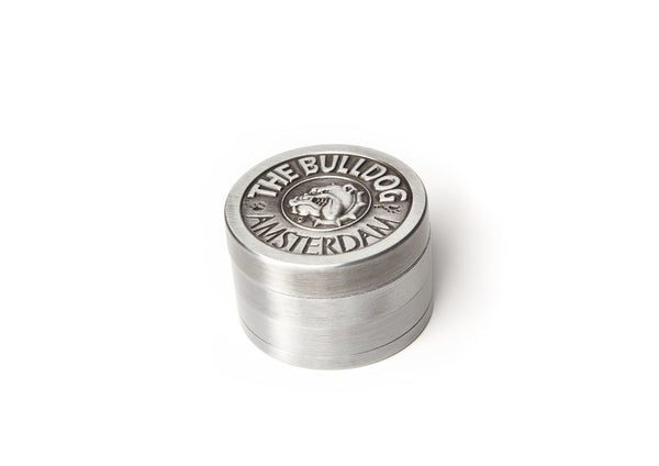 The Bulldog Amsterdam Stainless Steel 4Part Grinder with Diamond Teeth and Screen Crystal Catcher w/ Embossed Logo.