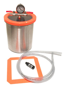 STAINLESS STEEL LARGE 3 GALLON VACUUM CHAMBER KIT