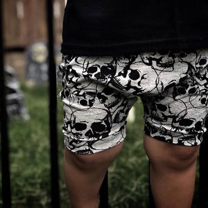Skull Harem Shorts Grey