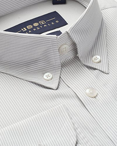 White and Grey Pin Stripe Oxford Button Down Shirt