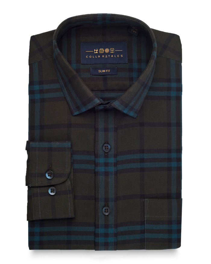 Army Green Plaid Brushed Cotton Shirt ( 44 Reg Only )