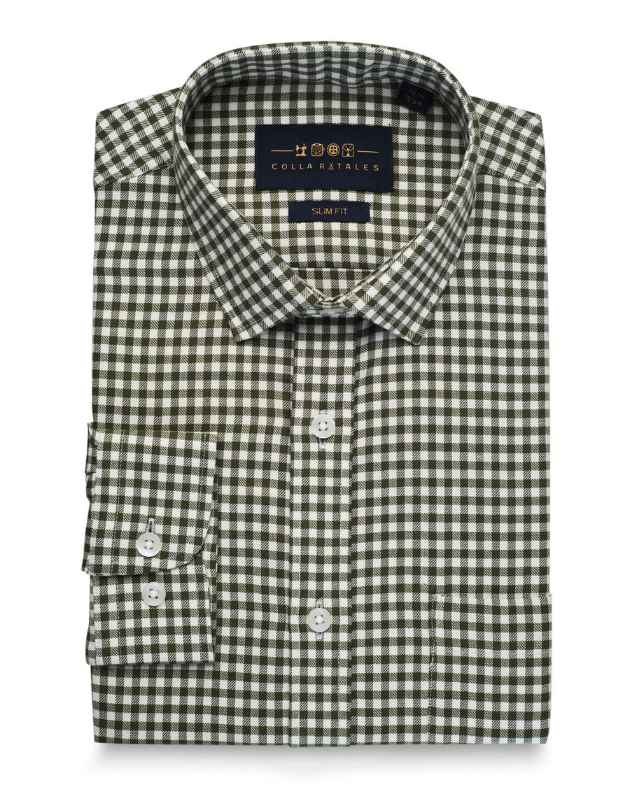 Olive Gingham Twill Shirt (46 Reg Only)