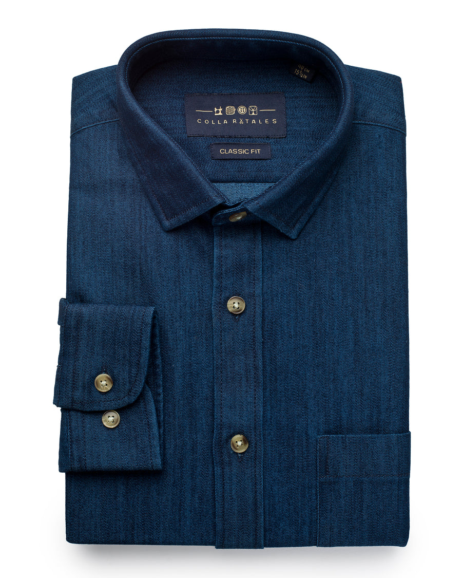 Lightweight Denim Shirt - Blue / Black