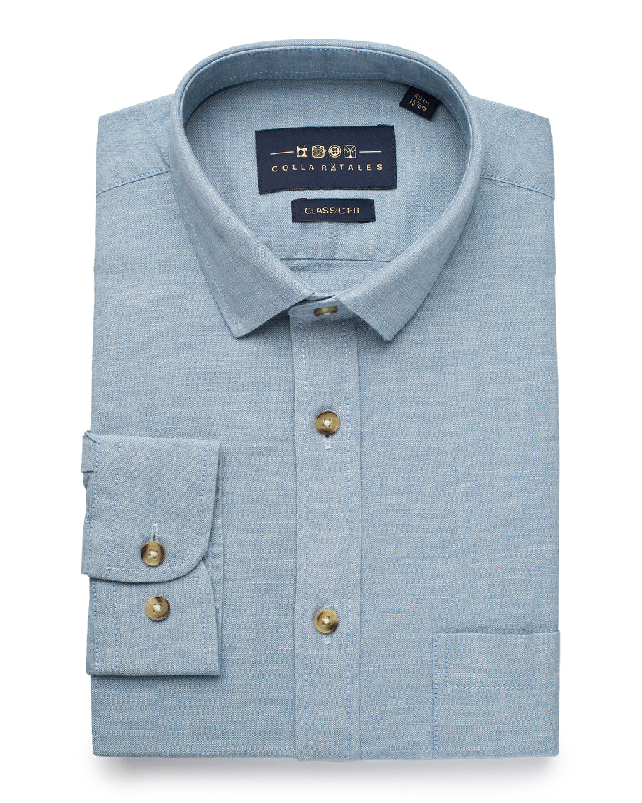 Washed Denim Chambray Shirt - Light