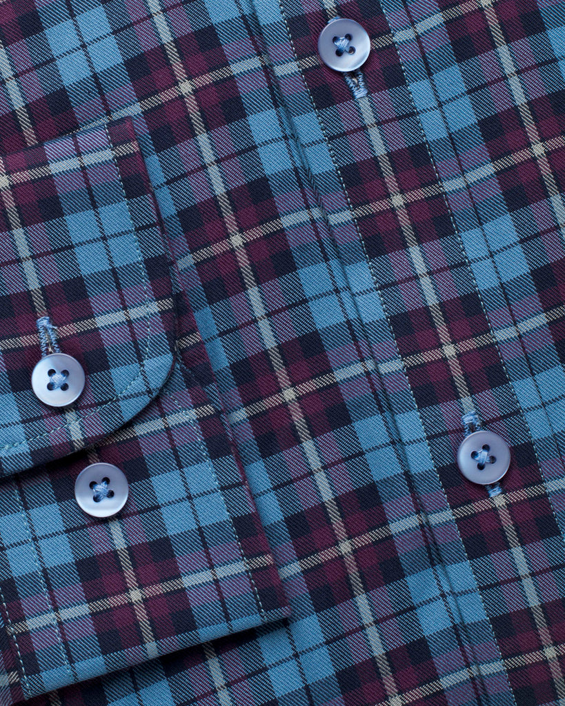 Cobalt and Maroon Plaid Shirt ( 42 Slim Only )