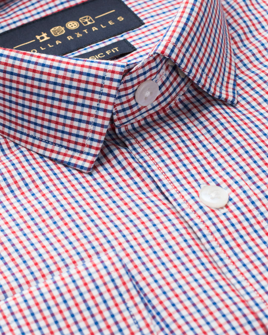 Red and Blue Gingham Check Shirt