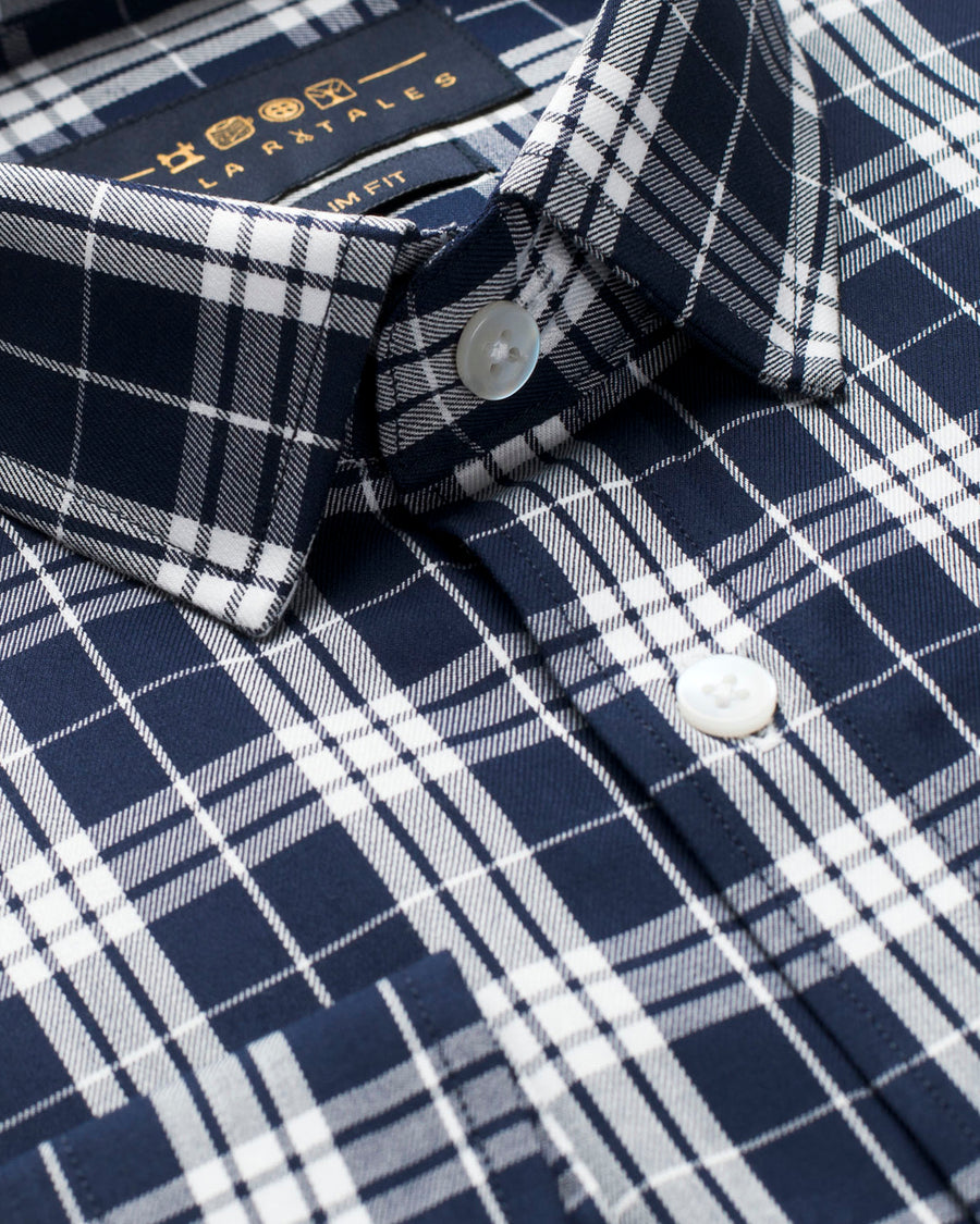 Navy and White Tartan Plaid Shirt (38,39 & 44 Slim & 42 Reg Only)