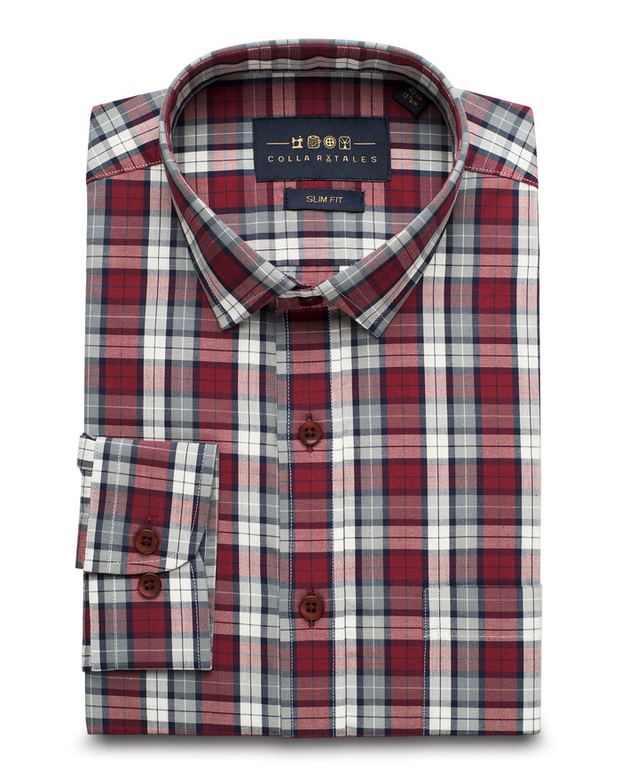 Grey and Red Tartan Plaid Shirt ( 39 Slim Only )