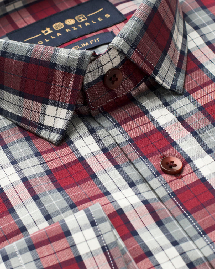 Grey and Red Tartan Plaid Shirt