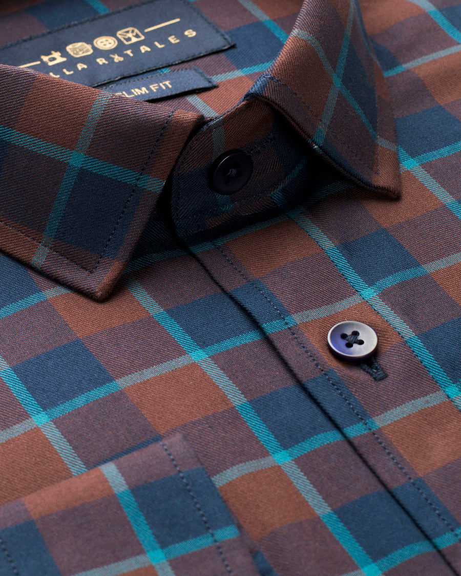 Brown and Navy Tartan Plaid Shirt (44 REGULAR ONLY)