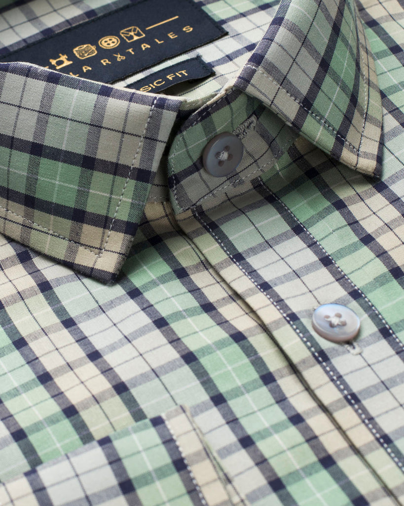 Cream & Green Check Shirt