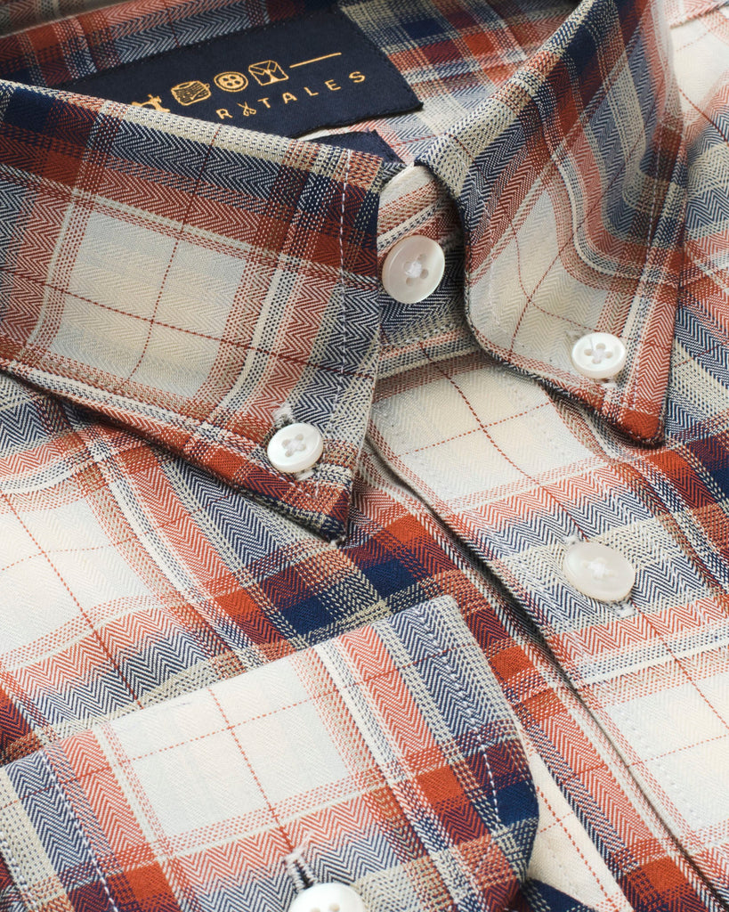Cream, Red & Blue Plaid Button Down Slim Fit Shirt