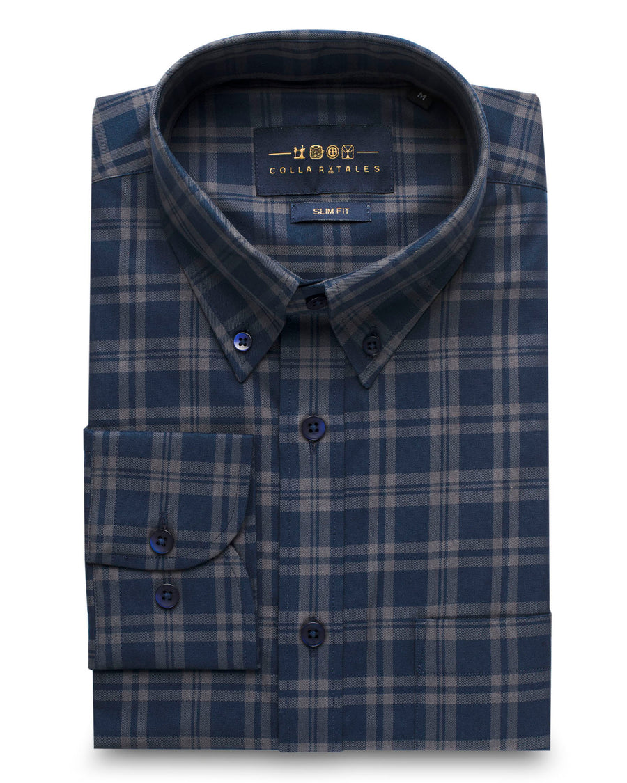 Navy & Grey Plaid Button Down Slim Fit Shirt ( 40 & 44 Only )