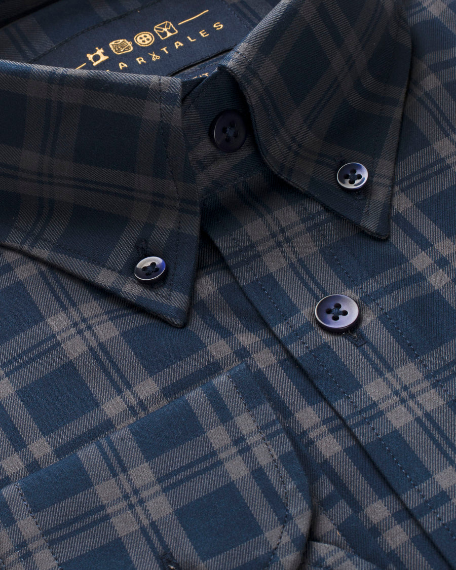 Navy & Grey Plaid Button Down Slim Fit Shirt (SMALL / MEDIUM / XXL ONLY)
