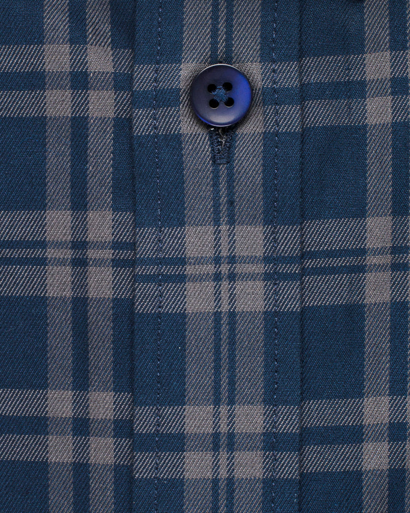 Navy & Grey Plaid Button Down Slim Fit Shirt