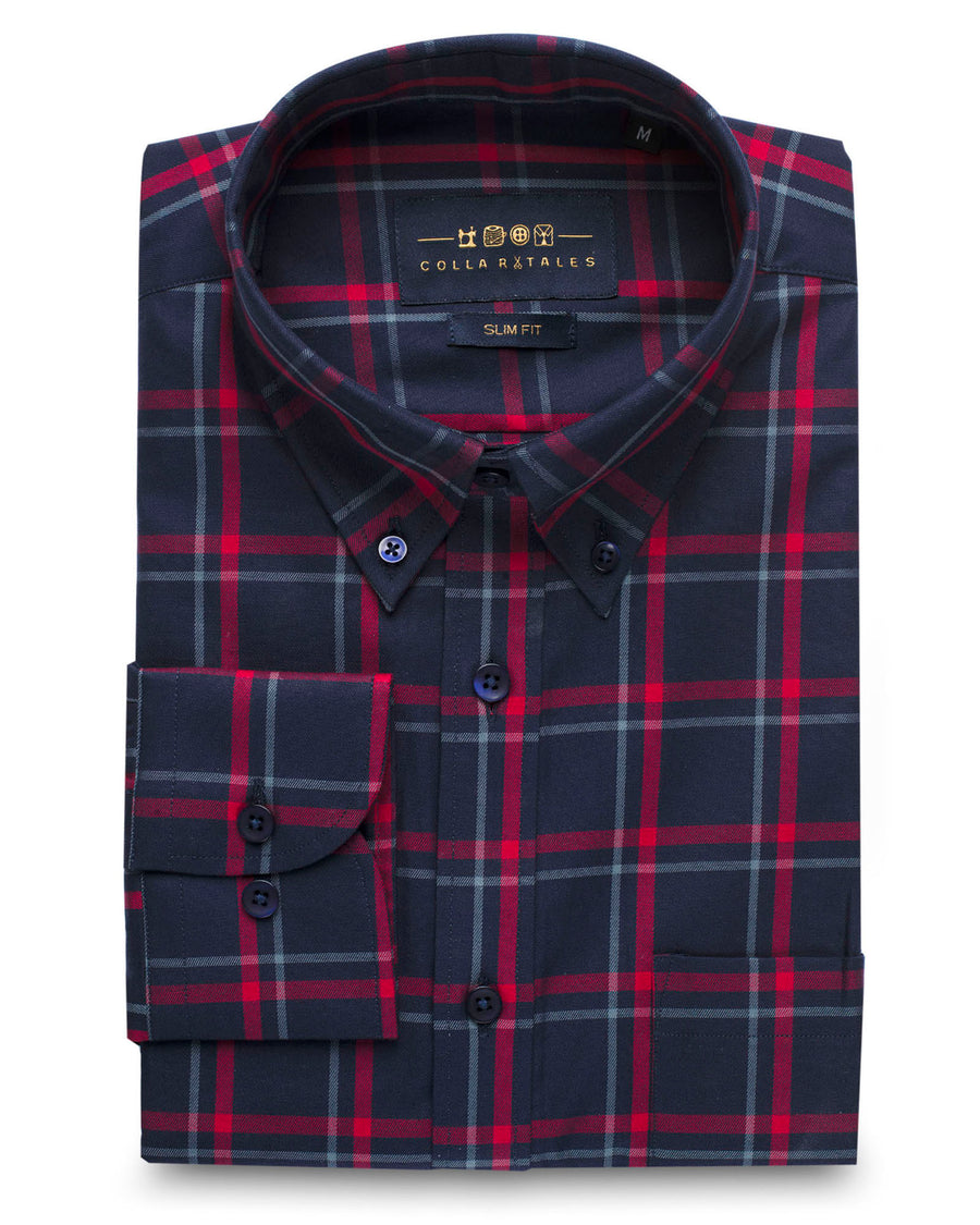 Navy & Red Multi Plaid Button Down Slim Fit Shirt