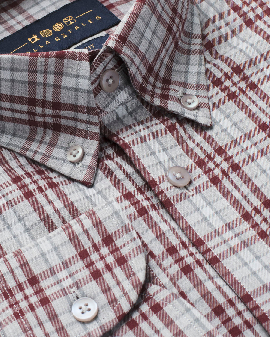 Grey and Maroon Multi Plaid Button Down Slim Fit Shirt