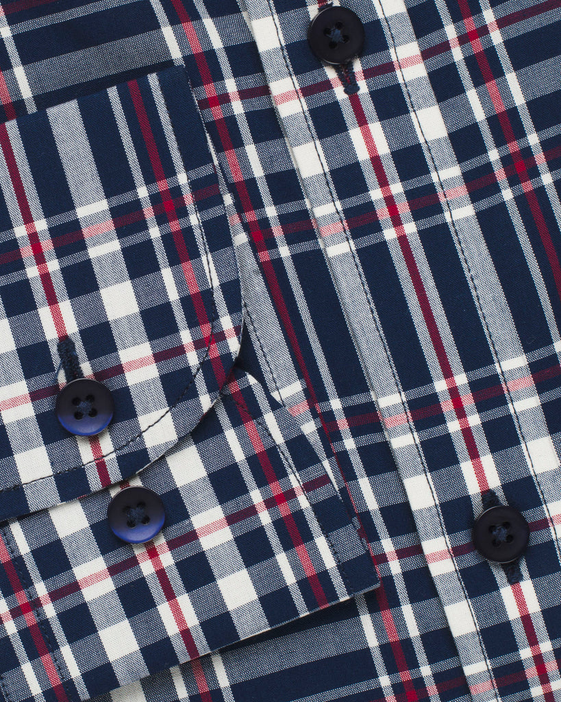 White, Red & Navy Plaid Button Down Slim Fit Shirt