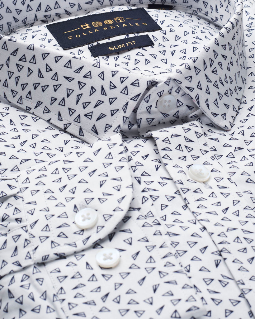 White & Grey Geometric Print Slim Fit Shirt ( 42 & 44 Regular ONLY )