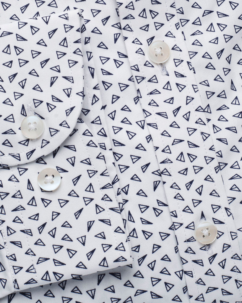 White & Grey Geometric Print Slim Fit Shirt ( 42 & 44 ONLY )