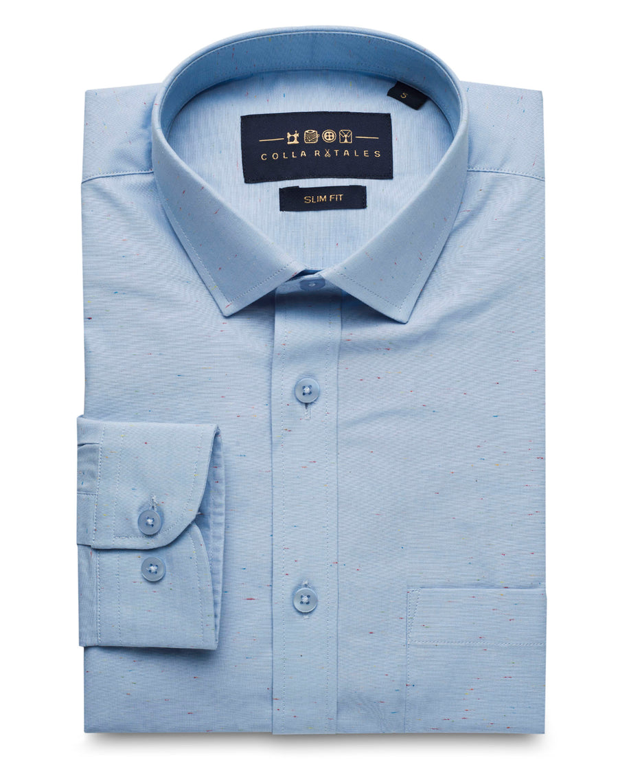 Blue Vertical Contrast Weaved Shirt