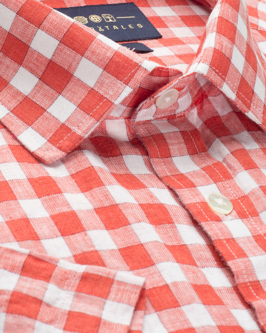 COTTON LINEN HALF SLEEVE ORANGE AND WHITE CHECK SHIRT
