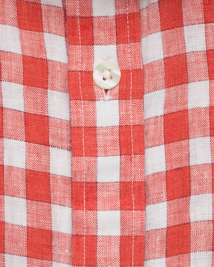 LINEN HALF SLEEVE ORANGE AND WHITE CHECK SHIRT