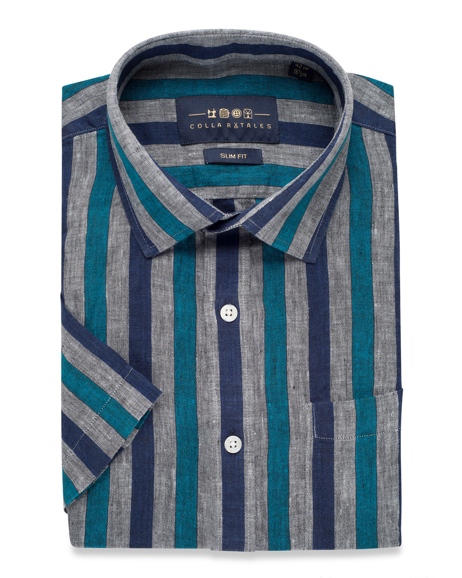 LINEN HALF SLEEVE BLUE AND GREY STRIPED SHIRT