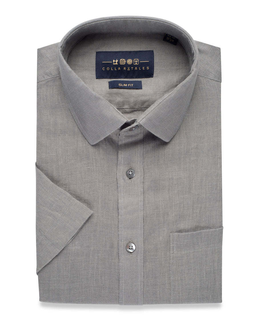 LINEN HALF SLEEVE SHIRT- GREY