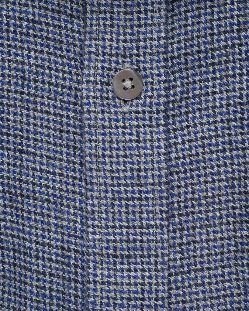 NAVY & GREY MICRO CHECK LINEN SHIRT ( 38 & 39  Only )