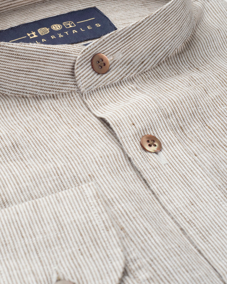 PRUSSIAN BROWN & OFF WHITE LINEN STRIPED SHIRT
